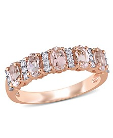 Morganite (1 ct. t.w.) and Diamond (1/6 ct. t.w.) Semi Eternity Ring in 14k Rose Gold