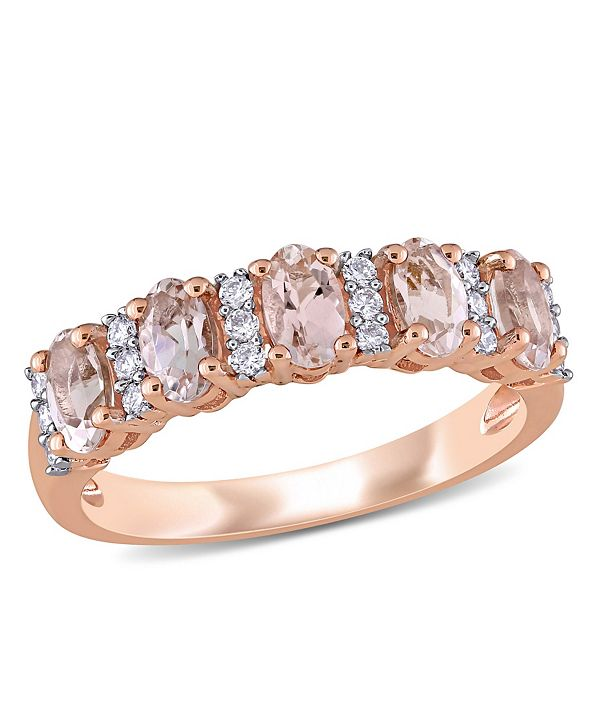 Macy's Morganite (1 ct. t.w.) and Diamond (1/6 ct. t.w.) Semi Eternity Ring in 14k Rose Gold