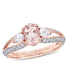 Morganite ( 3/4 ct. t.w.) and White Topaz (4/5 ct. t.w.) 3-Stone Ring in 10k Rose Gold