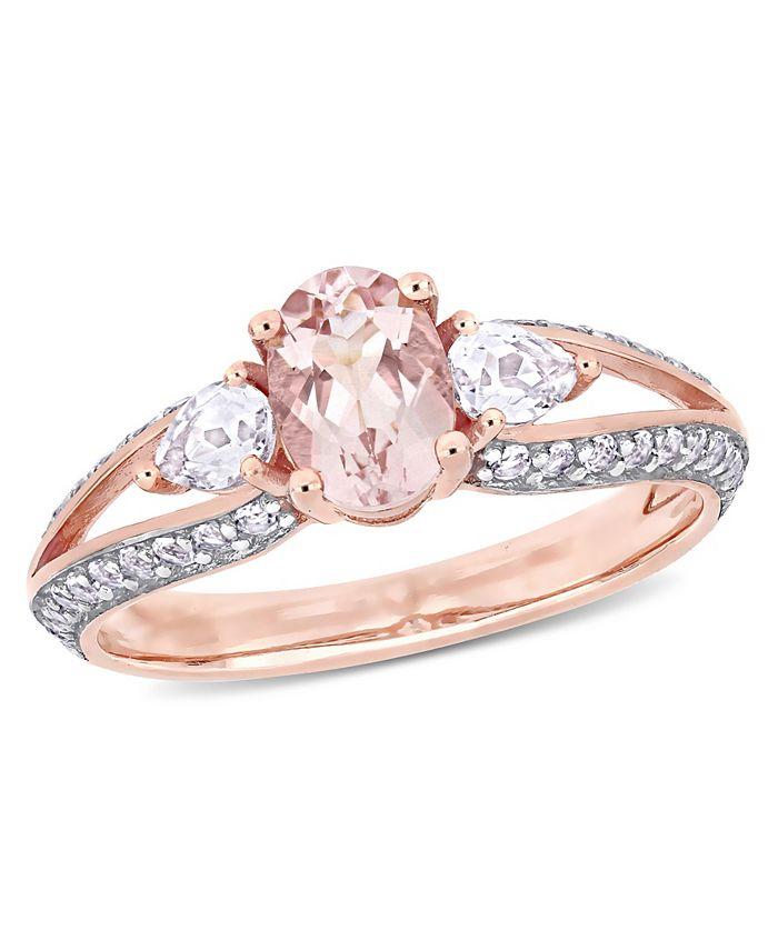 Macy's - Morganite and White Topaz (1-1/2 ct. t.w.) 3-Stone Ring in 10k Rose Gold