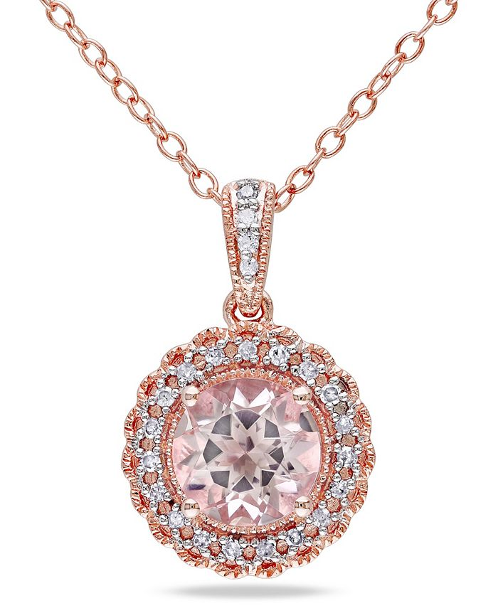 """Macy's - Morganite (1-1/6 ct. t.w.) and Diamond (1/10 ct. t.w.) Halo 18"""" Necklace in Rose Gold over Silver"""