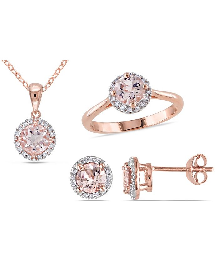 Macy's - Morganite (2-5/8 ct. t.w.) and Diamond (1/4 ct. t.w.) Halo 3-Piece Necklace, Earrings and Ring Set in Rose Gold Over Silver