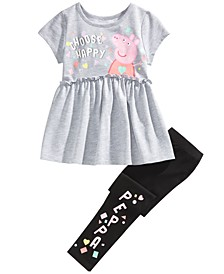 Little Girls 2-Pc. Choose Happy Top & Leggings Set