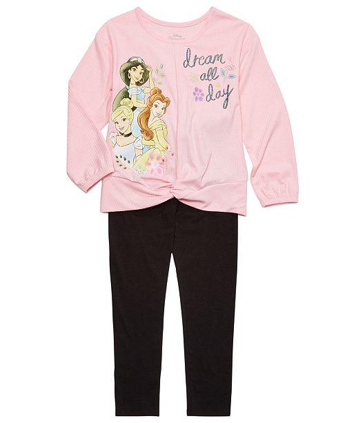 Disney Little Girls 2-Pc. Dream All Day Princesses Top & Leggings Set