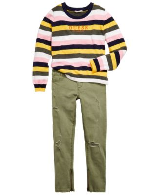 Big Girls Embroidered Striped Sweater