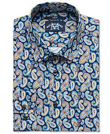Michelsons of London Men's Slim-Fit Stretch Paisley Dress Shirt