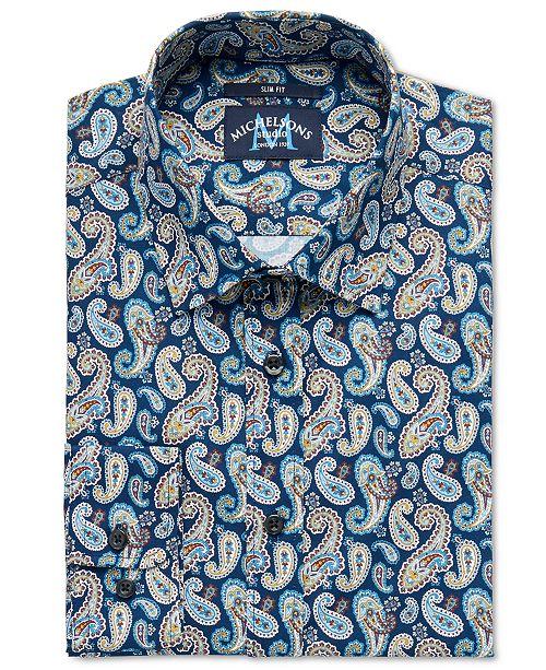 Michelsons of London Men's Slim-Fit Stretch Paisley Dress Shirt