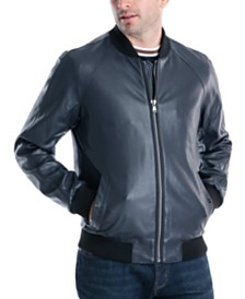 Michael Kors Men's Sutton Faux Leather Bomber Jacket, Created For Macy's