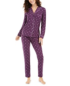 Super Soft Printed Long-Sleeve Top & Pajama Pants Set, Created for Macy's