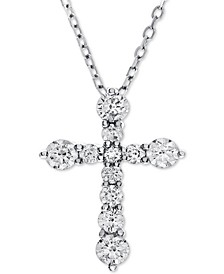 Diamond Cross Adjustable Pendant Necklace (1 ct. t.w.) in 14k White Gold