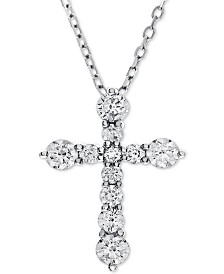 Diamond Cross Adjustable Pendant Necklace (1 ct. t.w.) in 14k White Gold
