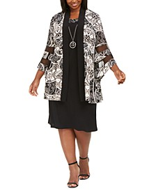 Plus Size Necklace Dress & Printed Illusion-Inset Jacket
