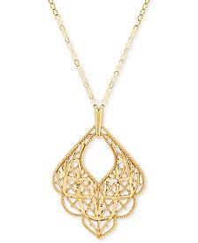 "Scallop Edge Mesh 18"" Pendant Necklace in 10k Gold"