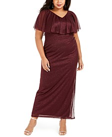 Plus Size V-Neck Overlay Dress