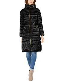 High-Shine Belted Hooded Puffer Coat