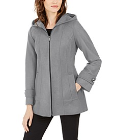 Petite Zip-Front Hooded Coat