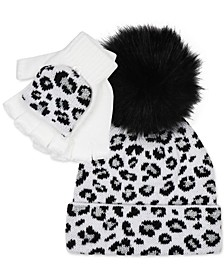 Big Girls 2-Pc. Leopard-Print Hat & Glittens Set