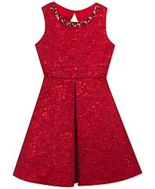 Rare Editions Big Girls Plus Size Embellished Brocade Dress