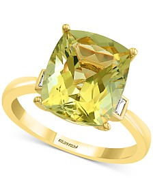 EFFY® Lemon Quartz (4-5/8 ct. t.w.) & Diamond (1/10 ct. t.w.) Statement Ring in 14k Gold