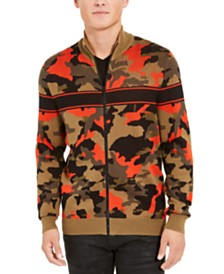 I.N.C. Men's Zip-Front Camo Sweater, Created For Macy's