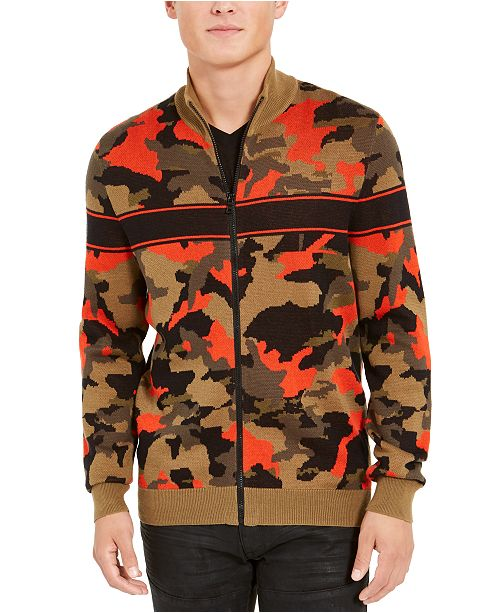 INC International Concepts INC Men's Zip-Front Camo Sweater, Created For Macy's