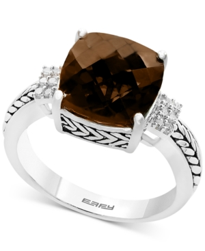 Effy Smoky Quartz (4-1/2 ct. t.w.) & Diamond (1/20 ct. t.w.) Accent Ring in Sterling Silver