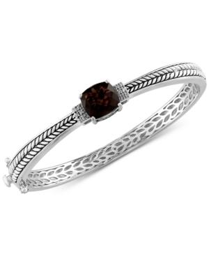 Effy Smoky Quartz (3-9/10 ct. t.w.) & Diamond (1/20 ct. t.w.) Bangle Bracelet in Sterling Silver