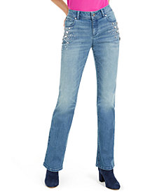 INC Rhinestone-Embellished Curvy Bootcut Jeans, Created for Macy's