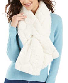 I.N.C. Quilted Teddy Faux-Fur Puffer Muffler Scarf, Created For Macy's