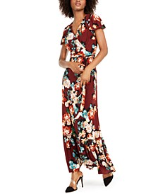 INC Floral-Print Faux-Wrap Maxi Dress, Created For Macy's