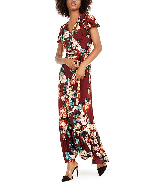 INC International Concepts INC Floral-Print Faux-Wrap Maxi Dress, Created For Macy's
