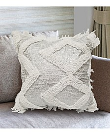 "Ela Square Decorative Pillow With Fringe, 18"" x 18"""