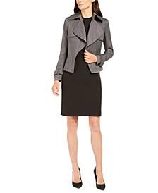 Herringbone Trench Jacket, Pleated Blouse, & Skirt