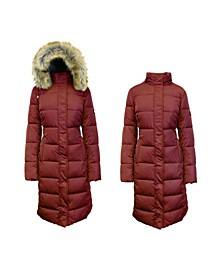 Long Heavyweight Bubble Parka Jacket with Faux Fur Hood