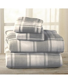 Great Bay Home Fleece Plaid Printed Twin Sheet Set