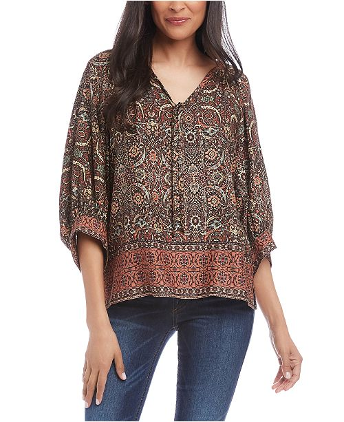 Karen Kane Printed Tie-Neck Top