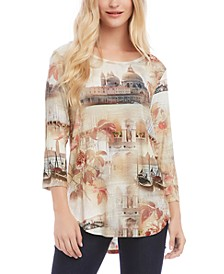 Montage-Print High-Low Top