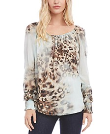 Leopard-Print Smocked-Sleeve Top