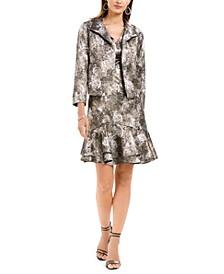 Metallic Jacquard Flounce Dress