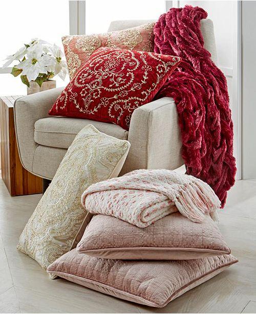 EnVogue Lacourte Royal Blush Cotton Decorative Pillow and Throw Collection