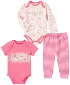 Baby Girls 3-Pc. Star Bodysuits & Jogger Pants Set