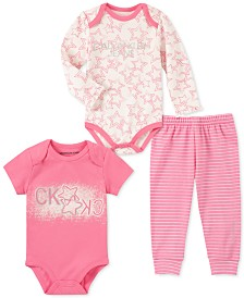 Calvin Klein Baby Girls 3-Pc. Star Bodysuits & Jogger Pants Set