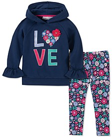 Baby Girls 2-Pc. Love Hoodie & Floral-Print Leggings Set