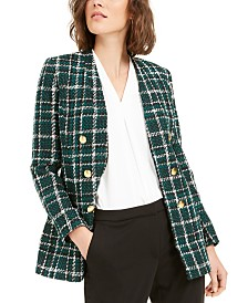Bar III Plaid Open-Front Double-Breasted Jacket, Created For Macy's