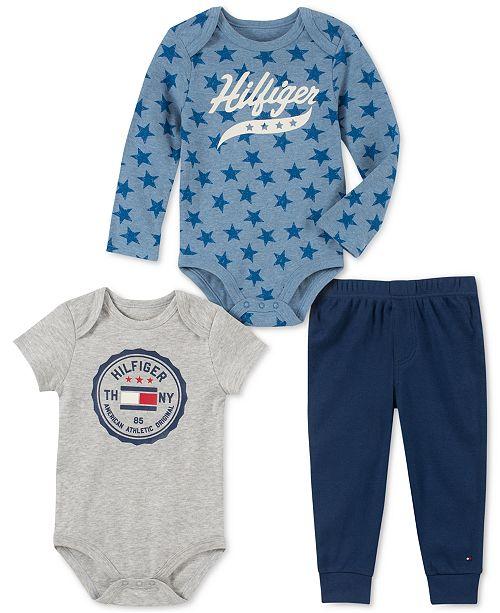 Tommy Hilfiger Baby Boys 3-Pc. Bodysuits & Pants Set