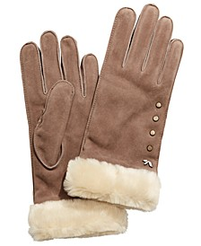 Studded Gloves with Faux Fur Cuff
