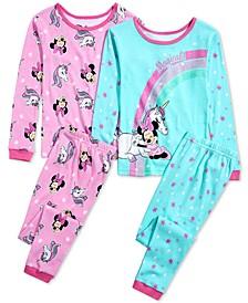 Little & Big Girls 4-Pc. Cotton Minnie Mouse Pajama Set