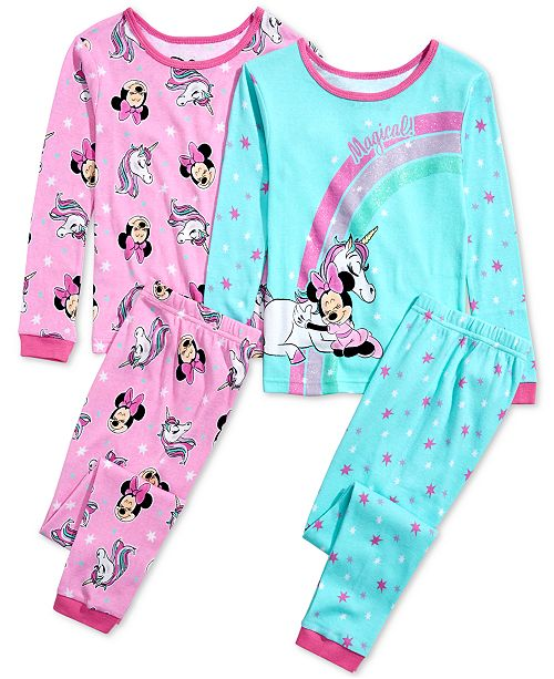 AME Little & Big Girls 4-Pc. Cotton Minnie Mouse Pajama Set