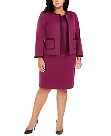 Plus Size Piped Jacket & Ponté-Knit Dress