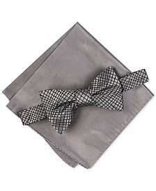 Alfani Men's Hudson Abstract Bow Tie & Pocket Square Set, Created For Macy's
